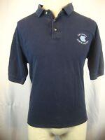 Mens Cotton Exchange 100%Cotton Navy SS Polo Golf Shirt UNC Tarheels Logo  sz LG