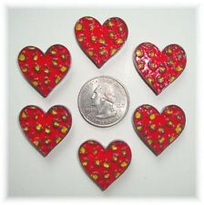 6PC GLAMOUR KITTY RED HEART LEOPARD FLATBACK RESINS