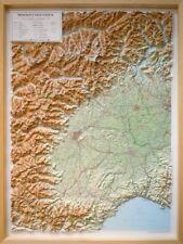 PIEMONTE E VALLE D'AOSTA [69X91 CM] CARTA REGIONALE IN RILIEVO [CON CORNICE]