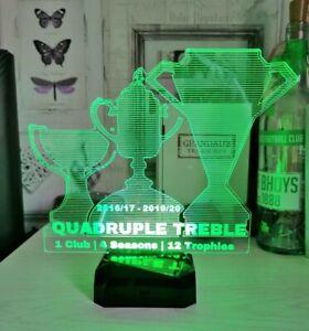 Celtic FC rechargeable LED light - Quadruple treble trophy plate and statues