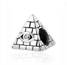 Pyramid Charm Ancient Egyptian Eye For Charm Bracelet 925 Sterling Silver