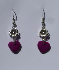 LOVELY HEART AND FLOWER SILVER PLATED EARRINGS PINK PURPLE SHELL HEART hook
