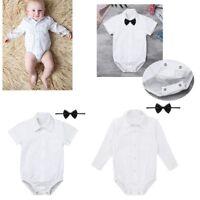 Baby Boys Formal White Shirt Romper Jumpsuit Bodysuit Bow Tie Sunsuit Outfit Set