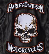 HARLEY ROCKERS & SKULL BACK PATCH Motorcycle Large IRON ON Jacket Vest 3pc. Set