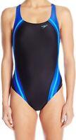 Speedo Womens Swimwear Black Blue Size 4 Powerflex Hydro Bra One-Piece $78 065