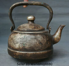 """8.4"""" Xuande Marked Old Chinese Silver Dynasty Dragon Portable Teapot Teakettle"""