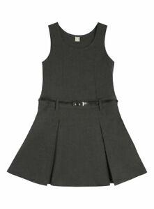 ! EX F&F ! Girls Uniform Kids Belted Pinafore School Wear Dress Sleeveless GREY
