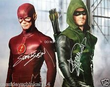 """Stephen Amell Green Arrow & Grant Gustin Flash 8x10"""" reprint Signed Photo #2 RP"""