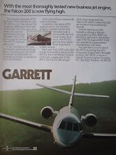 11/1982 PUB GARRETT ATF3 TURBOFAN ENGINE DASSAULT FALCON 200 ORIGINAL AD