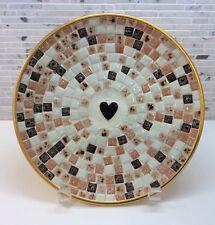 VINTAGE MID CENTURY MODERN MOSAIC TILE Round Heart Trinket Dish EAMES ERA