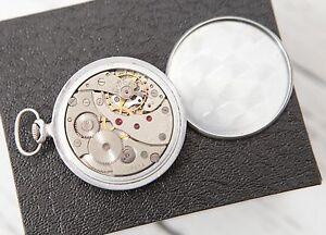 Vintage MOLNIJA OPEN Face Soviet Pocket Watch 18J