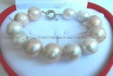New Huge 14-16mm White BAROQUE Pearl Bracelet Bangle 7.5 Inch