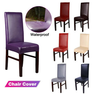 Stretchable PU Leather Dining Chair Cover Seat Protector Waterproof Slipcover!