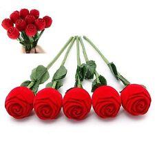 Velvet Storage Red Wedding Necklace Box Pendant Flower Jewelry Gift Rose Ring