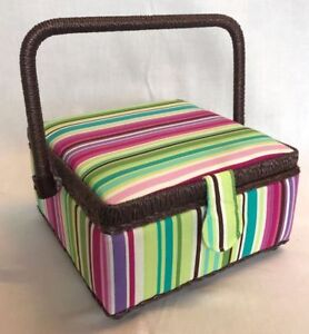 Sewing Box Basket Small - Green / Pink / Purple Stripes - Craft Box Storage