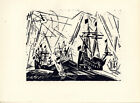 """Original 1920 Woodblock Print LYONEL FEININGER """"Hansa Fleet"""" Ed. 600"""