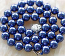 """Shell Pearl Necklace 18"""" Beautiful 10Mm Navy blue Sea"""