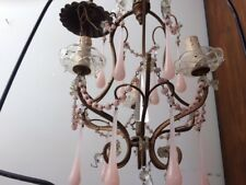 antique vintage chandelier italian french pink opaline crystal murano macaroni