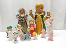 Vintage Christmas Decoration Angel Figurines Ceramic Porcelain Folk Art Figurine