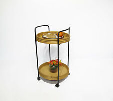 Rattan Rolling Trolley Serving Cart