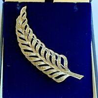 Vintage Brooch Marcasite Feather Silver Tone Leaf Fern Art Deco Pin