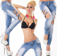 Jeans donna pantaloni elasticizzati strass zip skinny slim aperti nuovi