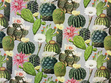 Cactus Multi T126 100% Algodón Cortina Suave tejido de mobiliario Cactus botánico