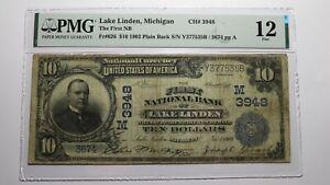 $10 1902 Lake Linden Michigan MI National Currency Bank Note Bill #3948 PMG F12