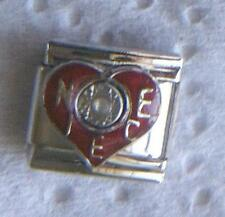 """""""NIECE ON BURGENDY HEART WITH STONE IN CENTER"""" 9MM CHARM-SURROUND YOU WITH LOVE"""