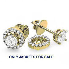 0.25 CT 10k Yellow Gold Round Diamond Removable Jackets for Stud Earrings
