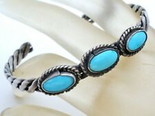 Sterling Silver Cuff Bracelet with Blue Turquoise Vintage Boho Jewelry 925 W