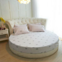 Soft Cotton 79 Inch Round Mattress Topper Cover Pad Bedding Sheet Protector