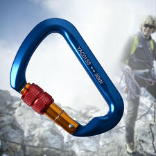Outdoor D-Shape Aluminum Steel Rock Climbing Hiking Screw Locking Carabiner 30KN