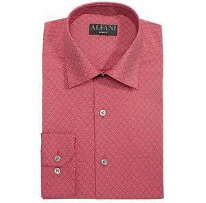 Alfani Mens Dress Shirt Red Size Small S 14-14 1/2 Slim Fit Geo Print $60 #169