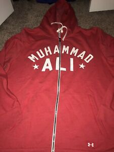 ROOTS OF FIGHT UNDER ARMOUR MUHAMMAD ALI FULL ZIP RED HOODIE SWEATSHIRT XXL 2XL