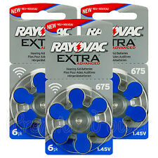 Rayovac Extra Hearing Aid 675 Size batteries Zinc air Mercury free x 60 cells