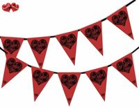 Black Lace LOVE in Heart on Red Bunting Banner 15 flags by PARTY DECOR