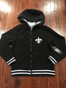 NWT$68 NFL New Orleans Saints Women's Full-Zip Fleece Jacket Black Size S