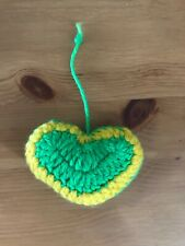 Handmade Hand Cute Knitted Green and Yellow Heart Shaped mini Decoration
