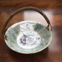 Vintage JAPANESE Bowl Ceramic With Metal HANDLE Serving/Trinket Dish