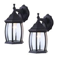 2 Pack Outdoor Exterior Lantern Light Fixture Wall Mount Sconces, Textured Black