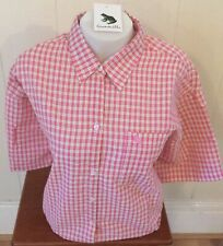 Ladies Grenouille Seersucker Cotton Short Sleeve Shirt - pink, green , Large