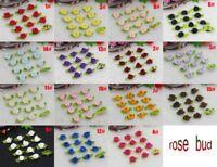 120PCS Mini Satin Ribbon Rose Flower Leaf Wedding Applique Sewing DIY Crafts