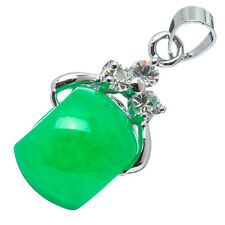 Chinese Emerald Green Jade Jadeite 18K White Gold Plated Wheel Pendant #002