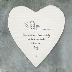 Porcelain Heart Coaster - There Are Friends That Become Family - East Of India