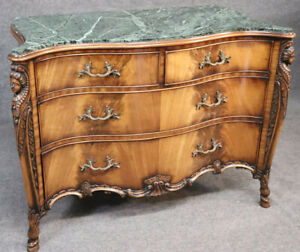 Figural Carved Maidens French Green Marble Top Commode Server Buffet, circa 1940