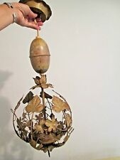Antique TOLE toleware BIRDCAGE SHABBY hanging light fixture retractable lamp