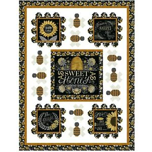 """Sweet as Honey Quilt Kit 52"""" x 68"""" with Moda Bee Grateful Fabric by Deb Strain"""
