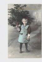 REAL PHOTO RPPC POSTCARD CHRISTMAS HAND-COLORED LITTLE GIRL WITH TREE GERMAN