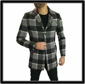 cappotto cappottino trench da uomo elegante invernale slim grigio a quadri 44 46